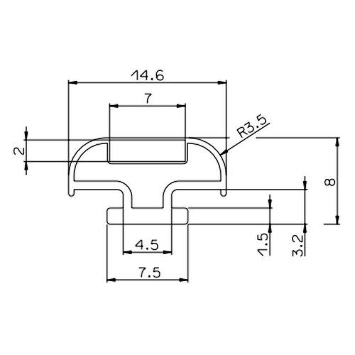Provex 0040GM08F inschuif magneetstrip grijs